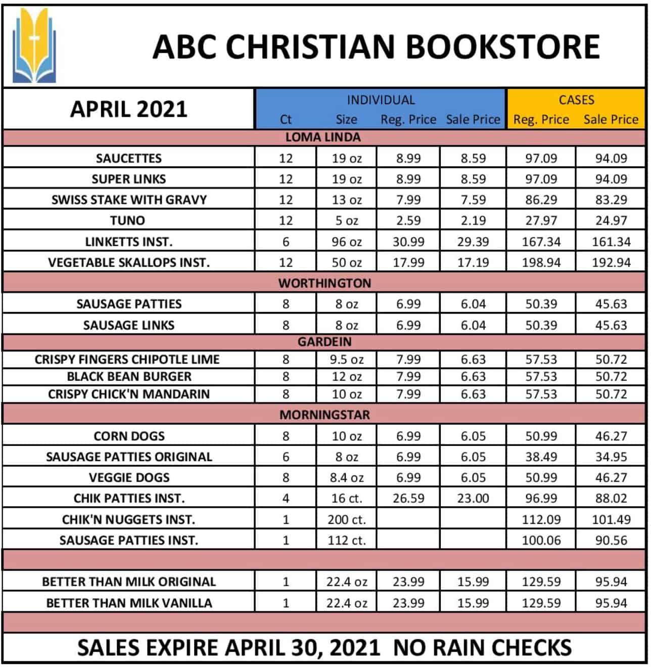 ABC food price list